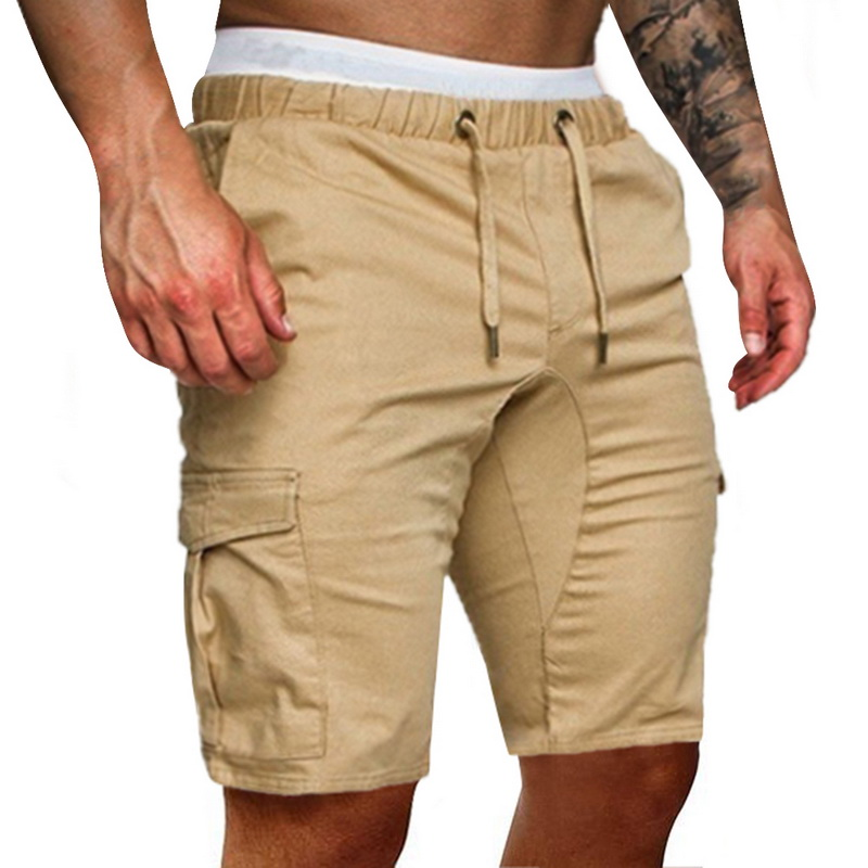 2020 Summer Casual Khaki Men's Shorts  Hot Stylish Cargo Work Elasticated Combat Shorts New Fashion  Length Trousers