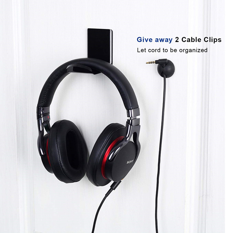 New Black Self Adhesive Acrylic Headset L-shape Hanger Holder Headphone Stand Bracket Desk Hook
