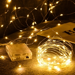 LED silver copper wire string 3*AA Battery Operated Waterproof Fairy LED Christmas Lights For Holiday Party Wedding Decoration