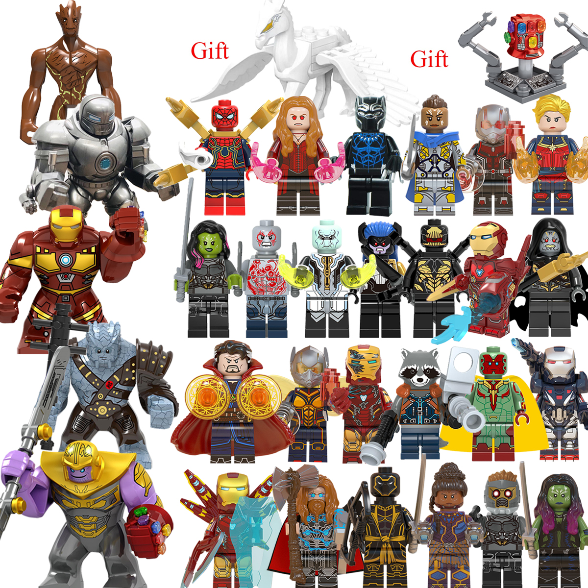 30PCS  Thanos Endgame  Iron Man Captain  War Machine  LEGOEDING   Marvel  Avengers Minifigured Building Blocks Toys For Children