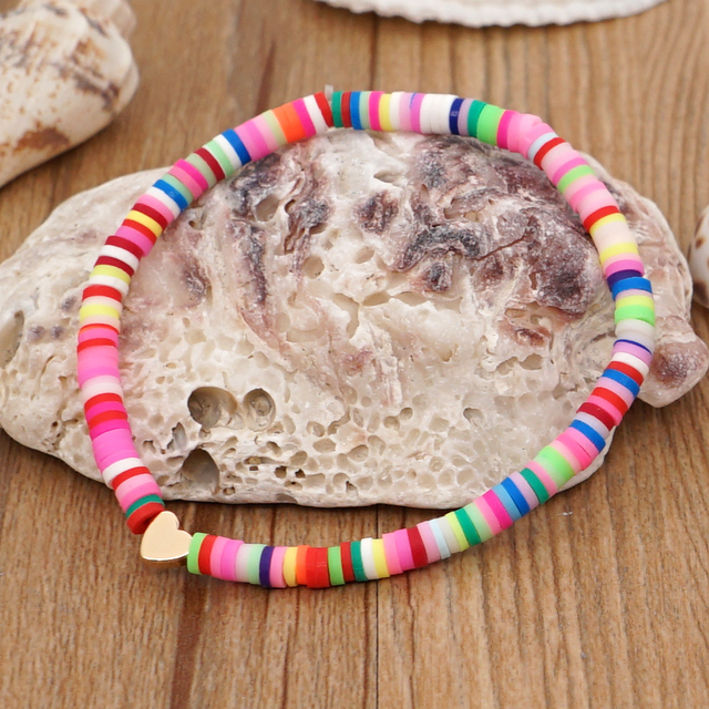 Go2Boho Heart Charm Bracelets Polymer Clay Bracelet For Female Summer Heishi Disc 4mm Beaded Braclets Women 2021 Fashion Jewelry 4