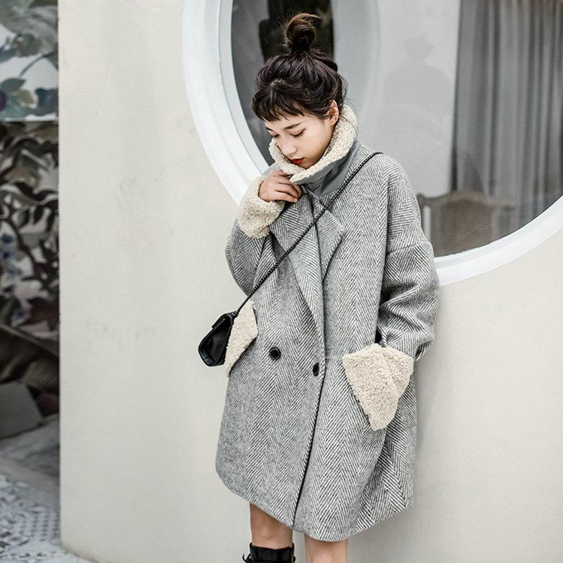 Gray Berber Fleece Collar Cuff Coat 3