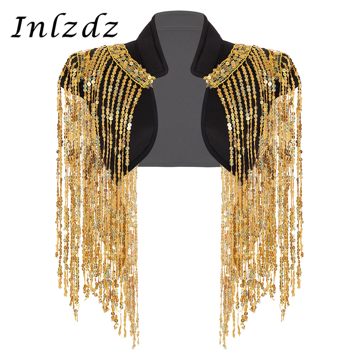Women Hip-hop Jazz Dance Stage Performance Waistcoat Costume Stand Collar Open Front Sparkle Sequin Tassels Cropped Jazz Vest