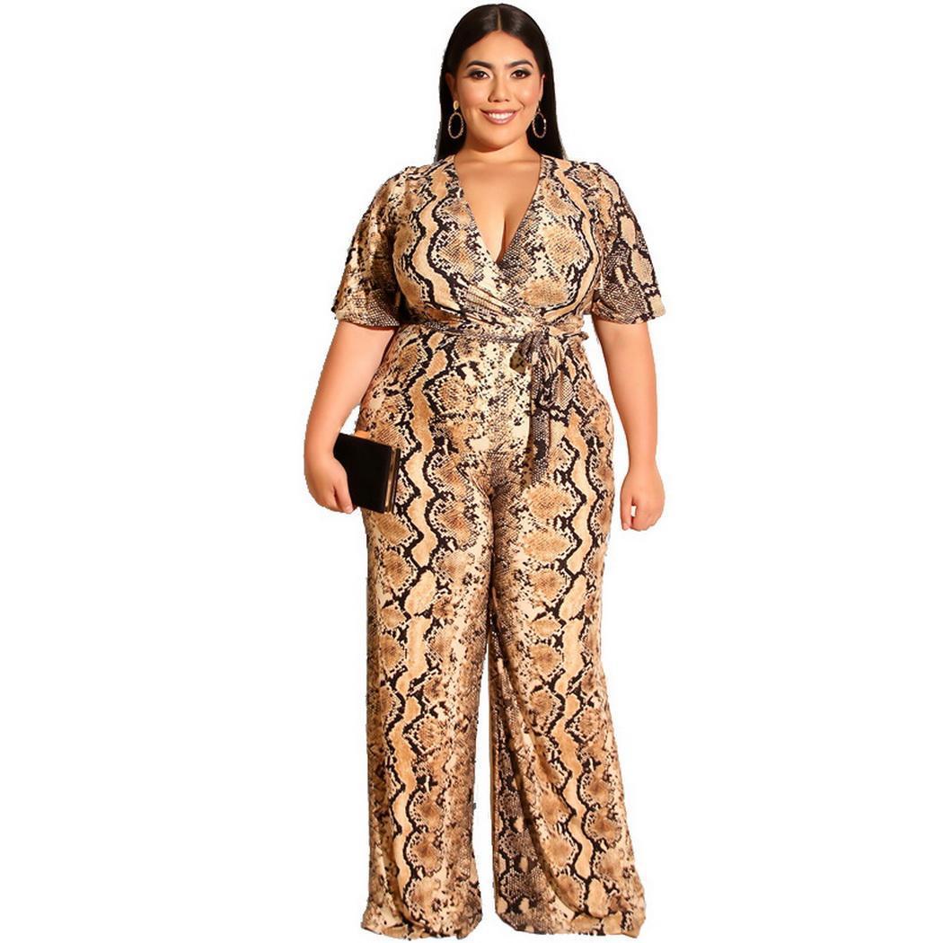 Jumpsuit Overall Short Skin-Pattern Summer-Sleeve V-Neck Casual Women Waist Slim Snake