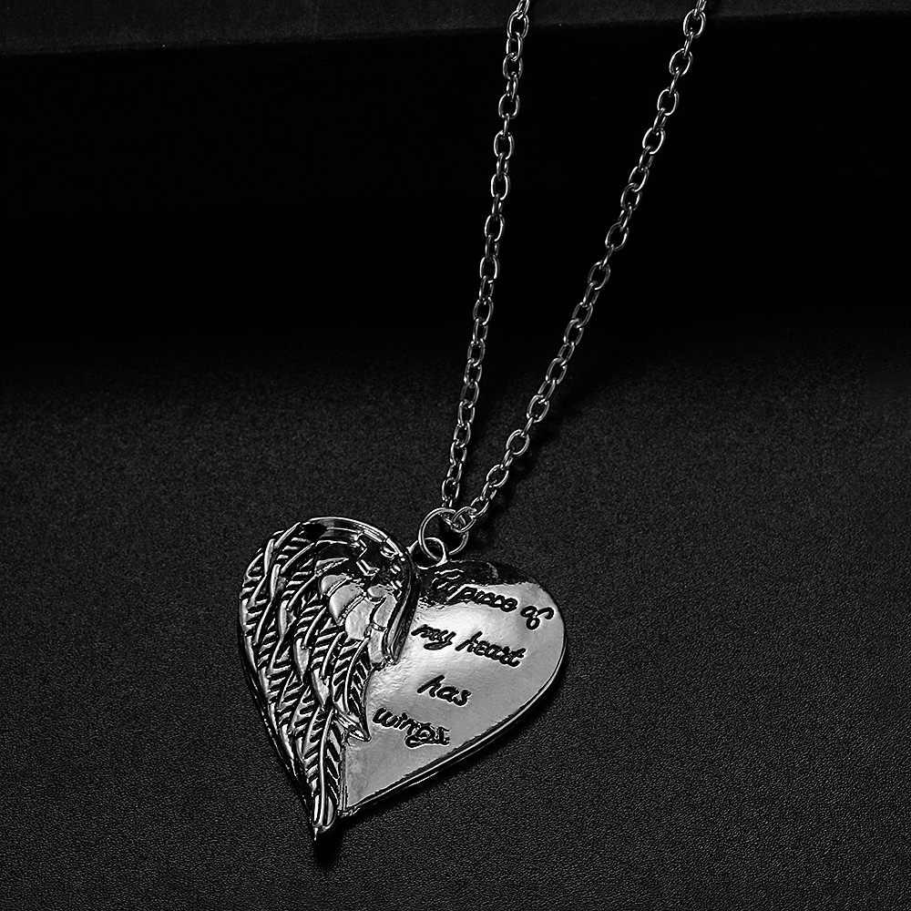 ユニセックス天使の翼ハート形のペンダントネックレス手紙私の心のピースは羽のネックレスエレガントなラインストーンペンダントジュエリー