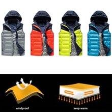 USB Heating Vest With Hat Winter Warm Up Jacket Men Women 3 Mode Battery Heated Coat Adjustable Outdoor Sport Rapid Jacket