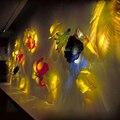 Рождественские Новогодние цвета ручная выдувная настенная художественная декоративная стеклянная тарелка муранское подвесное стекло