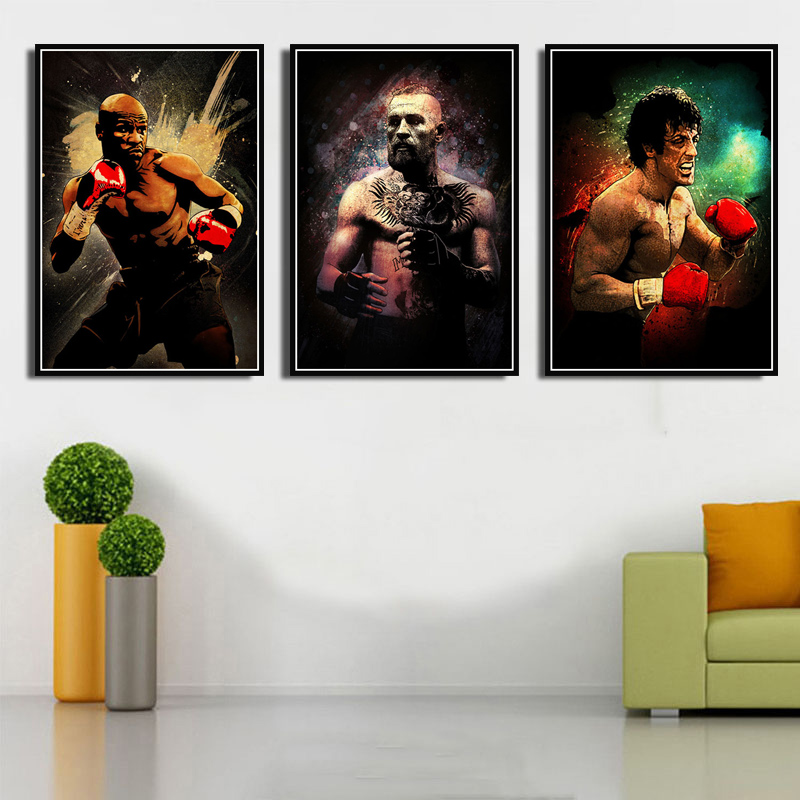Canvas Painting Legends Sport Player Ali Conor McGregor Rocky Mayweather Poster Prints Art Wall Pictures Living Room Home Decor image