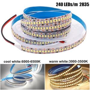 Image 2 - 2835 SMD tira LED 240 LEDs/m 5 M 300/600/1200 Leds DC12V alta brillante Flexible cinta de cinta de cuerda LED blanco cálido/blanco frío