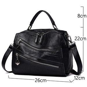 Image 3 - Luksusowy podwójny zamek błyskawiczny torebki damskie torebki projektant marki kobiece torby na ramię Crossbody dla kobiet skóra Sac główna torebka damska