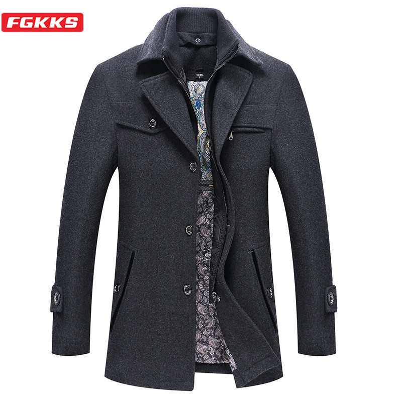 FGKKS Brand Wool Blend Coats Men Winter New Men's Fashion Simple Trench Coat Solid Color Casual Wool Overcoat Male
