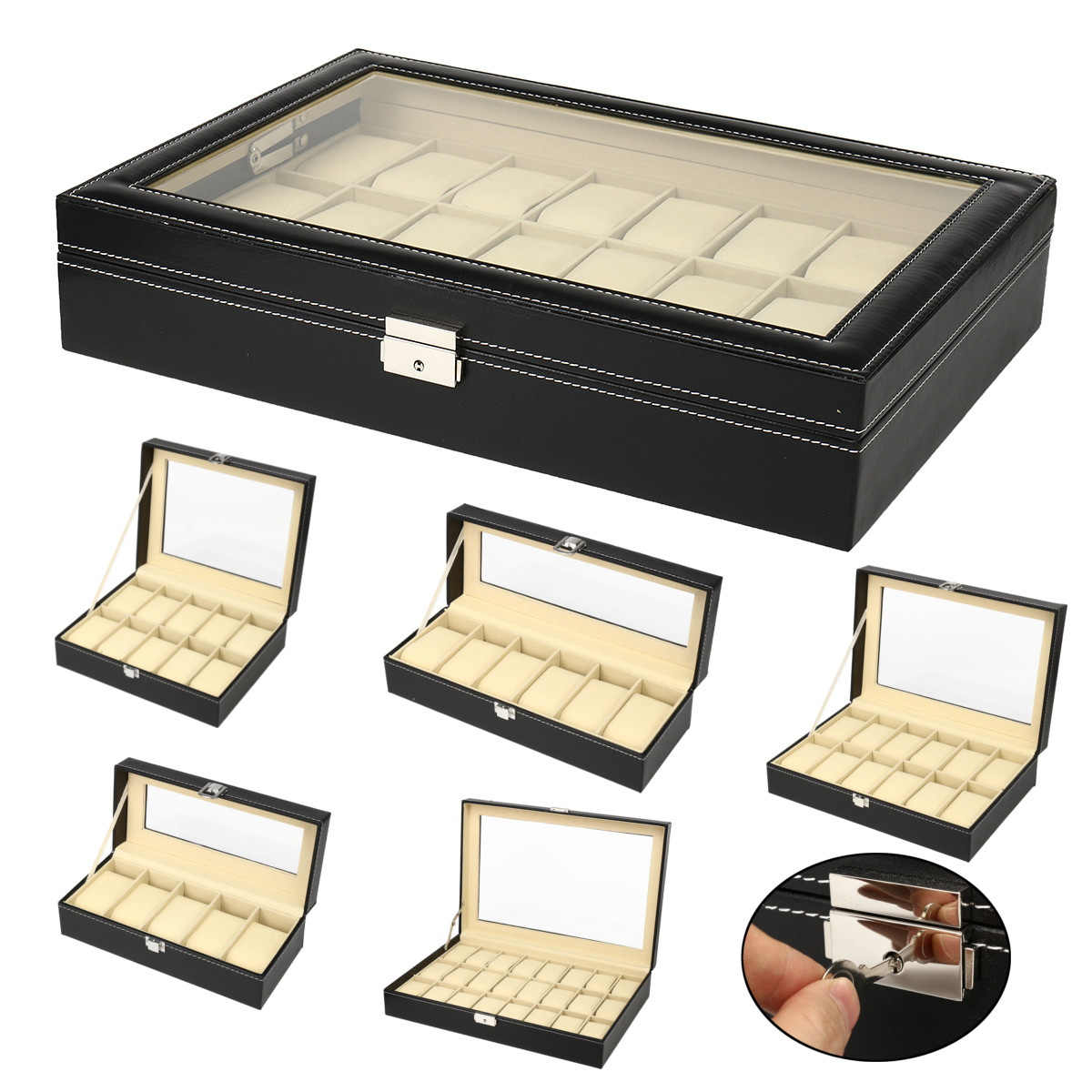 5/6/10/12 Grids PU Leather Watch Box Case Professional Holder Organizer Watches Jewelry Boxes Case Display Rings Storage