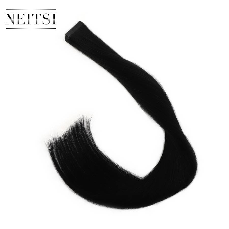 Neitsi Virgin Remy Real Tape In Human Hair Extensions One Donor Cuticle Aligned Intact Skin Weft Tape Hair For Salon 20
