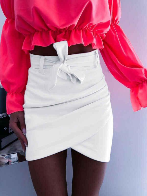 2019 秋のファッションの女性のミニスカートセクシーな包帯クラブウェアハイウエスト鉛筆ボディコンクロス白ピンクカーキ S-XL
