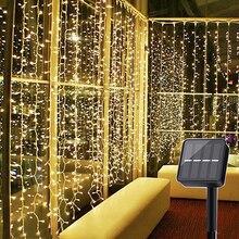 Thrisdar 3x3M 300 LED güneş enerjili pencere perde dize ışık açık bahçe noel güneş yıldızlı yıldız peri garland ışık