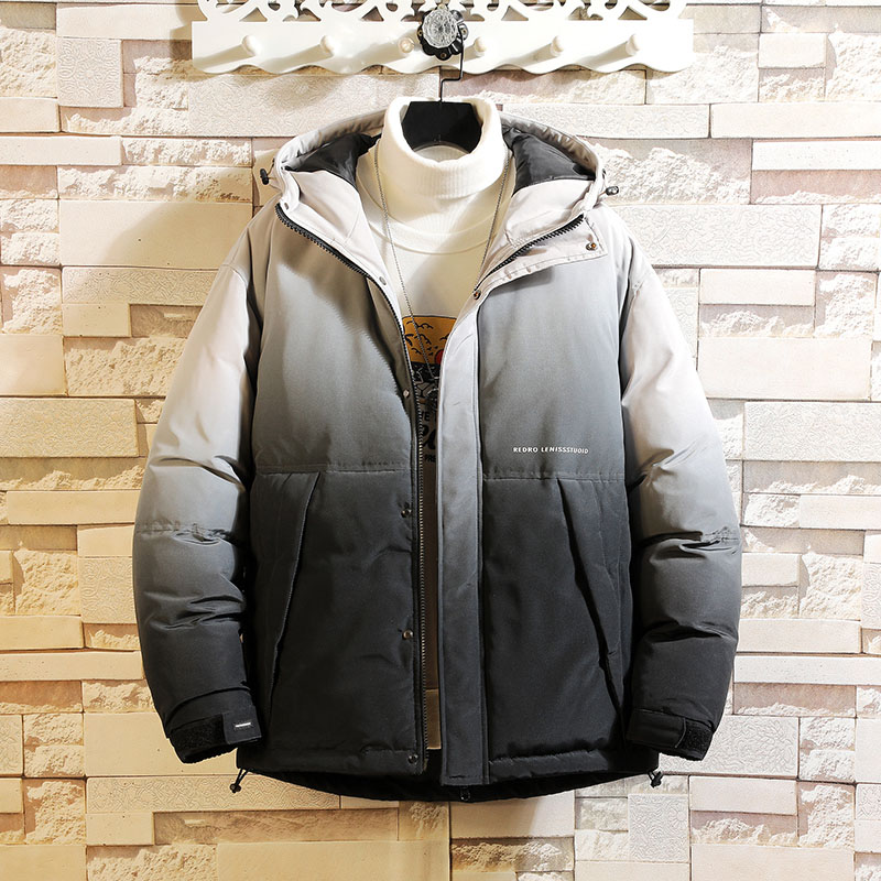Jacket Men Casual Hooded Parka Gradient color Winter Men Fashion Patchwork Cotton Slim Fit Coat Thick Warm Homme's Zipper Jacket
