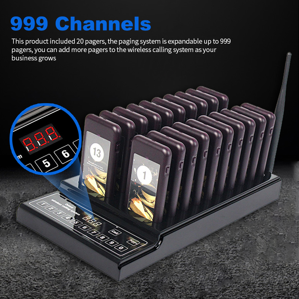 DiscountÔBuzzer-System with 20-Pagers Wireless Restaurant Vibration for Church Clinic Eu/Us-Plug▄
