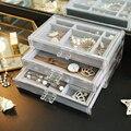 Для макияжа  органайзер  ящики для хранения акриловый прозрачный стол ювелирные изделия кольцо Цепочки и ожерелья органайзер для хранения ...