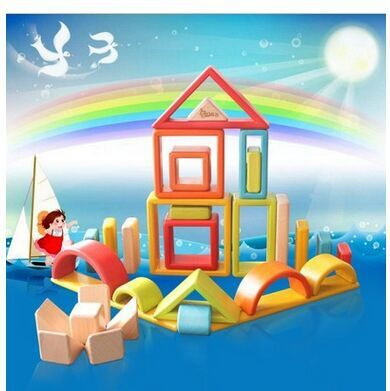 Blocs de construction en bois arc en ciel pour enfants jouets grand puzzle en bois massif pour bébé - 3