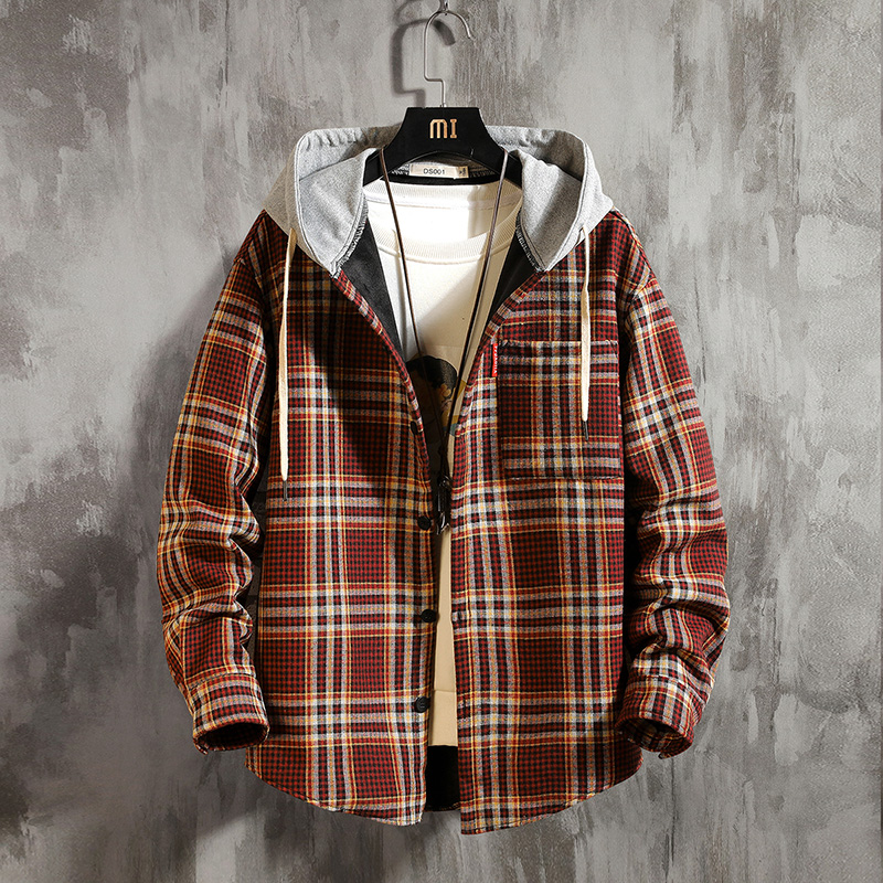 Long Sleeve Thickening Hooded Plaid <font><b>Shirt</b></font> Warm Winter <font><b>Shirts</b></font> <font><b>Men</b></font> Plus Size Oversize Thick Flannel <font><b>Mens</b></font> Casual Clothing II50CS image