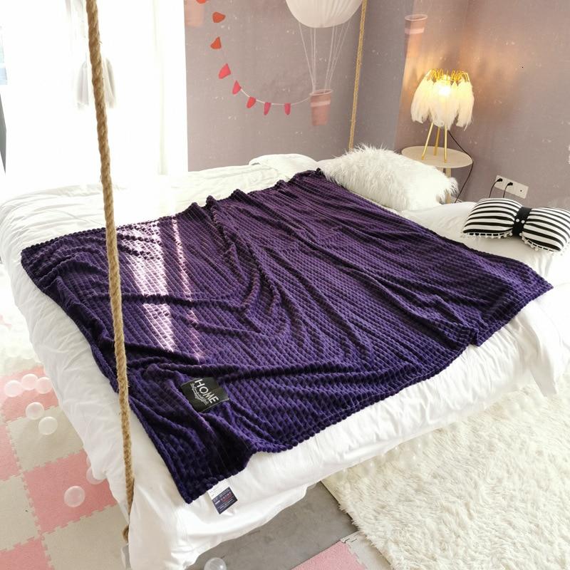 Purple Color Plaid Print Blanket
