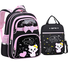Cute Cat Schoolbag for Girls Pink  Lovely Backpack Mochila Primary PU Leather School Pencil Case Bag Fashion Waterproof Backpack