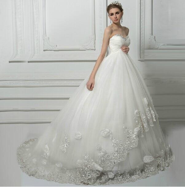 Vestido De Noiva Lace Flowers Sweetheart Vestido De Festa Longo Wedding Dresses 2019 Robe De Mariee Bridal Gown Wedding Dress