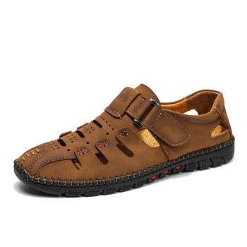 MUJN męskie skórzane sandały 2020 letnie odkryte męskie buty miękkie oddychające ręcznie obuwie męskie Casual Walking sandały męskie 38-48 tanie i dobre opinie Podstawowe LEISURE RUBBER Hook loop Mieszkanie (≤1cm) Pasuje prawda na wymiar weź swój normalny rozmiar Na co dzień