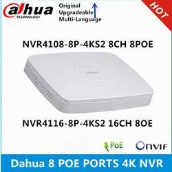 Dahua 4k nvr NVR4108-8P-4KS2 8ch com 8 poe NVR4116-8P-4KS2 16ch com 8poe portas lite gravador de vídeo em rede