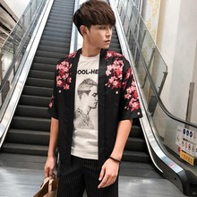 Men's Japanese Kimono Casual Cardigan Casual Half Sleeves Open Front Cloak Jacket Coat novelty collarless half sleeves high low tassel embellished kimono for women