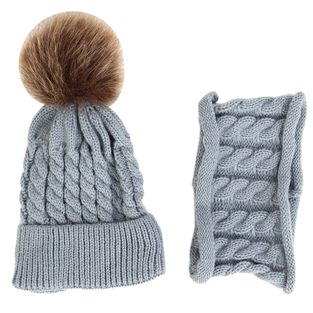2pcs Woolen Yarn Knitted Daily Neckerchief Hat Scarf Set Outfit Gift Baby Kids Striped Warm Autumn Winter Soft Unisex Cute