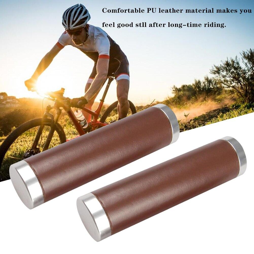 1 Pair Brown PU Leather Beach Cruiser Bike Bicycle Handlebar Cover Grips Bar