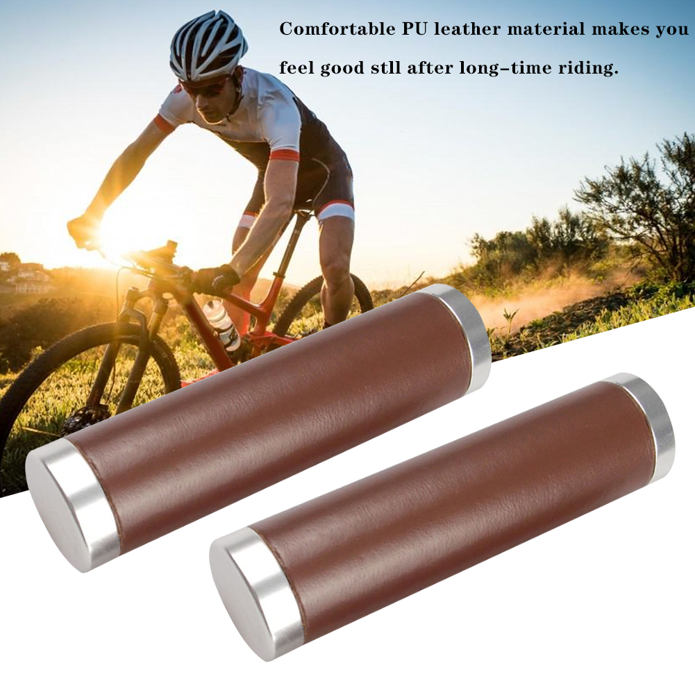 Beach Cruiser Bike Bicycle Leather Handlebar Cover Grips Bar With End Cap
