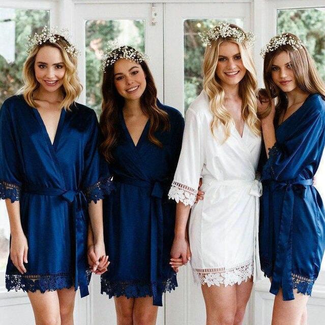 Owiter Women Lace Robe Matt Satin Bride Robe Bridesmaid Robes Bridal Robe Wedding Party Robes Dressing Sleepwear Bathrobe