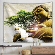 Cultura Religiosa tapiz de pared tapiz de Buda Alfombra de pared dormitorio Hippie tapiz psicodélico árbol paisaje Boho Decoración