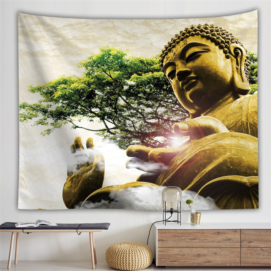 Religion Culture Hanging Wall Tapestry Buddha Wall Carpet Headboard Dorm Hippie Psychedelic Tapestry Tree Landscape Boho Decor