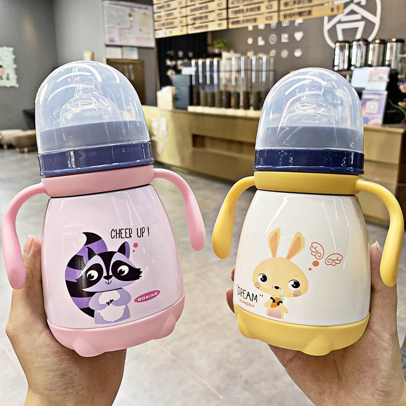 330ml Baby Feeding Cup with nipple Stainless Steel Milk Thermos for Children Insulated hot water Bottle leak-poof thermal Cup