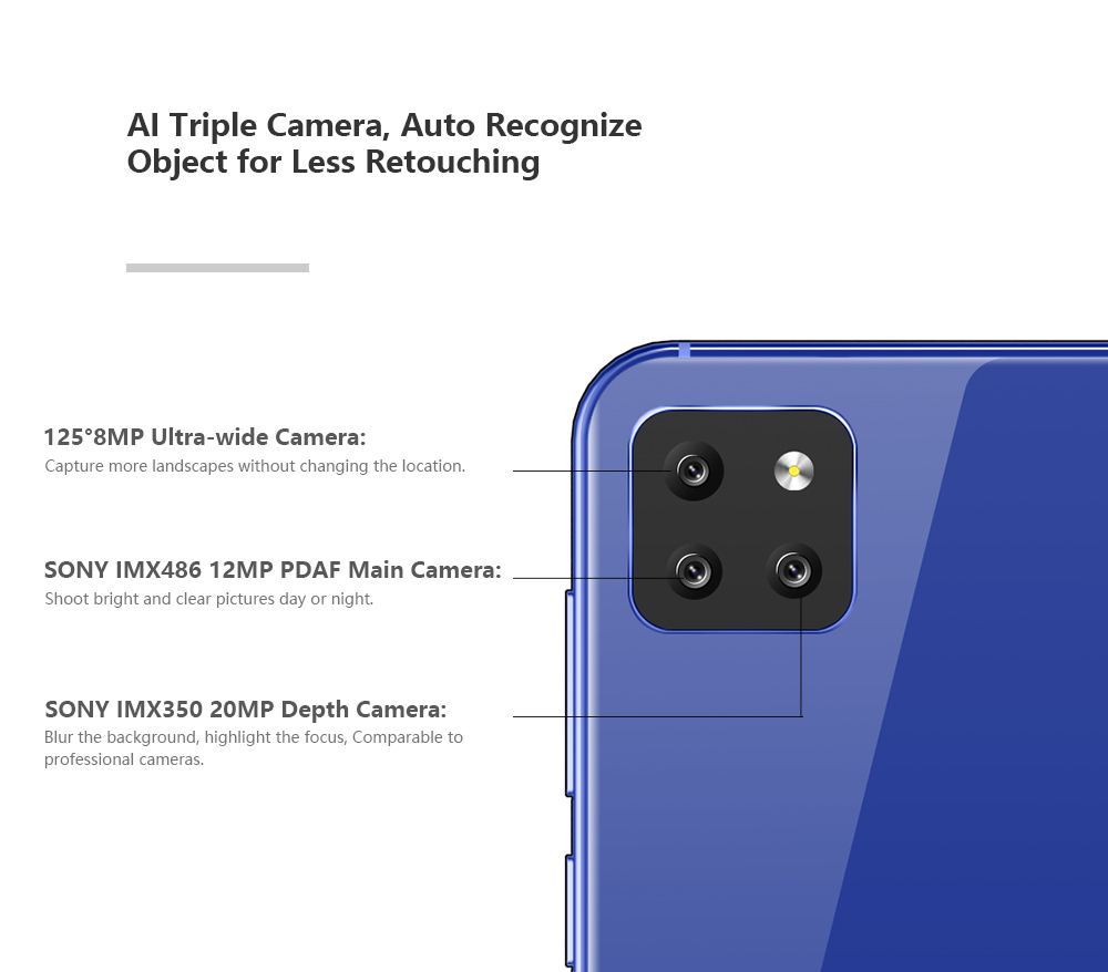 CUBOT X20 Pro 4G Smartphone 6.3 inch Android 9.0 Helio P60 Octa Core 6GB RAM 128GB ROM 20.0MPCamera 4000mAh Mobile Cell Phone - 3