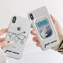 Phone Case For iPhone For iPhone 11 Pro Max X XS Max 7 8 6 Plus XR Cases DIY Custom Name Line Phone Cover Travel Map Clear Cases travel phone case custom name phone cases for iphone 6 6s 7 8 plus silicone soft cover case for iphone x xs max xr 11 pro max