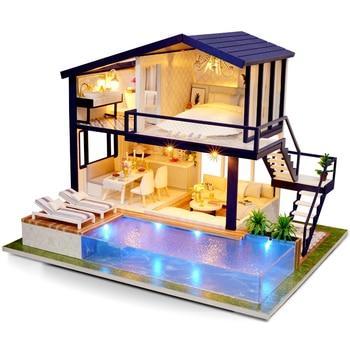 DIY Doll House Villa Wooden Furniture House Miniature Puzzle Assemble 3D Surprise Doll House Princess House Toy Children Gift 3d пазл diy house магический кристалл слон 9058