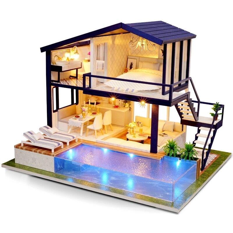 Diy casa de boneca villa móveis de madeira casa em miniatura puzzle montar 3d surpresa casa de boneca princesa brinquedo presente das crianças