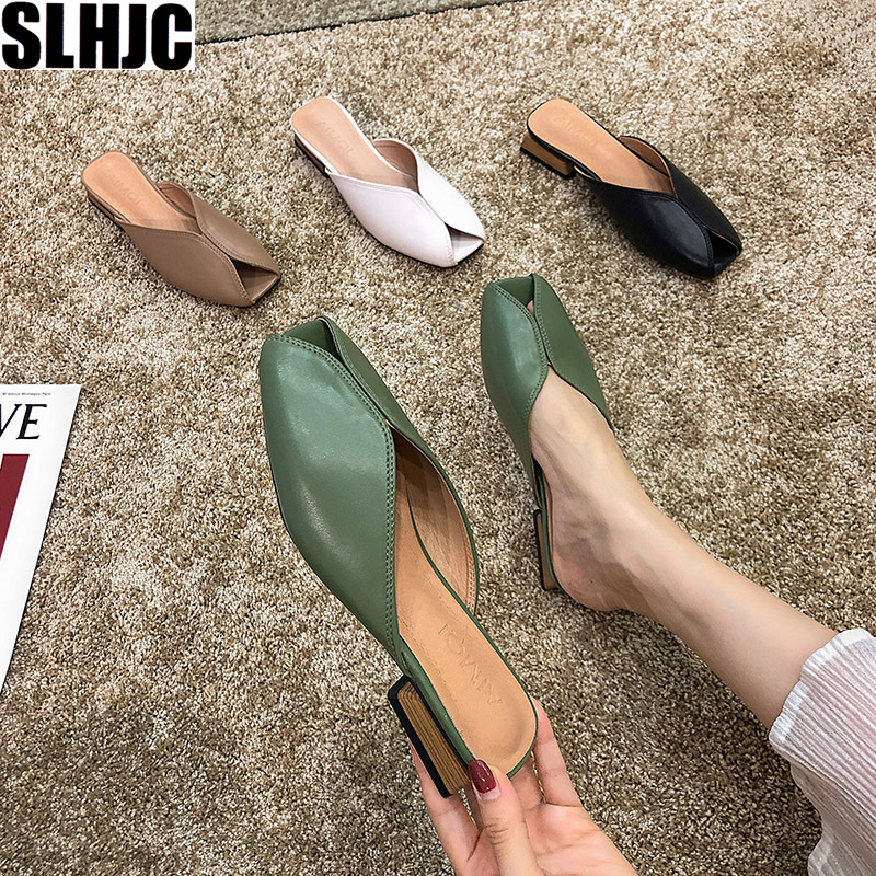 SLHJC Women Summer Leather Slippers Square Toe Mules Slip On Low Heel Fashion Sandals Casual Outside Drags Slides