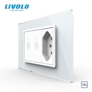 Image 2 - Livolo C9 US Standard 67.5 مللي متر مفتاح حائط يعمل باللمس ، 2Way جهاز التحكم عن بعد ، زجاج كريستال أبيض ، مفتاح بلاستيك ، زر ضغط ، مع قابس البرازيل