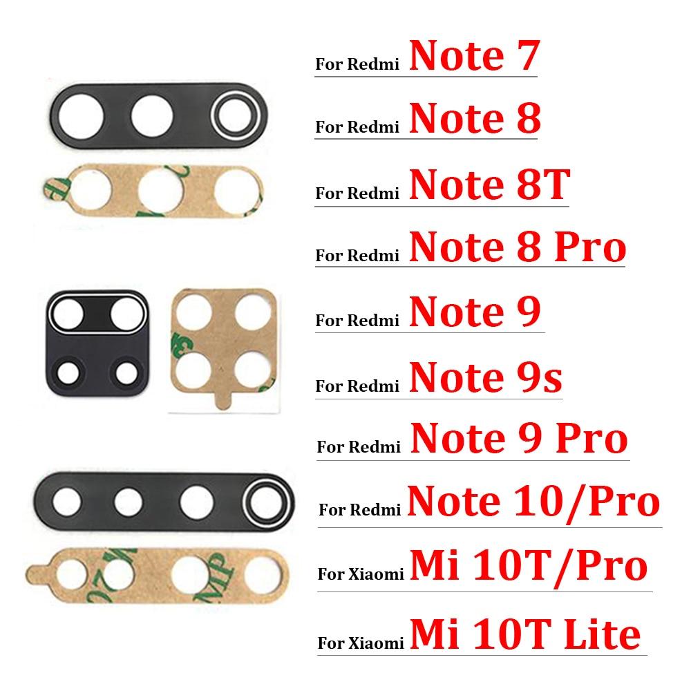2Pcs For Xiaomi Redmi Note 8 8T 9S 7 10 Pro Max 9 9A 9C Rear Back Camera Glass Lens with Sticker For Mi 10T 11 Note 10 Lite Pro