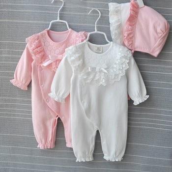 Princess Cotton Newborn Baby Girl Clothes Lace Bow Jumpsuit Spring Autumn Infant Girls Clothing Sets Bodysuit+ Hats