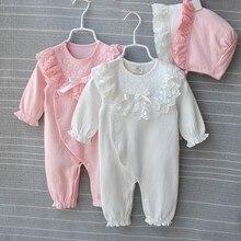 Princess Cotton Newborn Baby Girl Clothes Lace Bow Jumpsuit