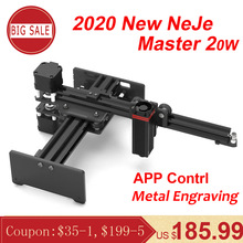 Neje Master 2 20W Cnc Laser Graveur Draagbare Graveren Carving Machine Mini Diy Laser Logo Mark Printer Voor Metalen graveren