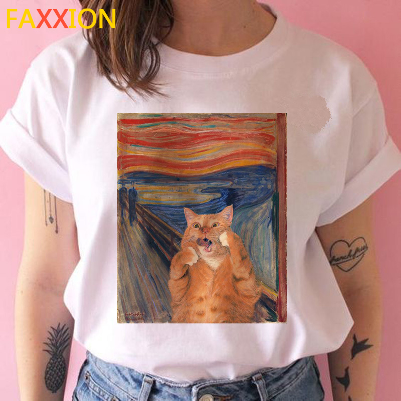2020 Cat Van Gogh Harajuku T Shirt Aesthetic Funny Ulzzang Tshirt Art 90s Grunge Summer T-shirt Short Sleeve Cartoon Casual