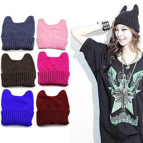 Women Girl Warm Winter Cat Ear Shape Knitted Soft Cute Hat Elastic Beanie Cap