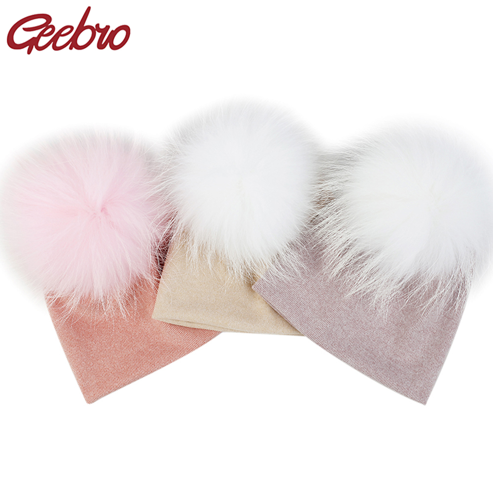 Geebro Newborn Baby Girls Boys Multi-color Real Fur Pompm Cotton Beanies Hats Caps Soft Winter Baby Kids Stretch Knitted Gifts